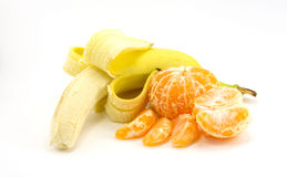 Banana and tangerine. S are isolated on a white background Royalty Free Stock Photo