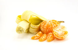 Banana and tangerine. S are isolated on a white background Stock Photography