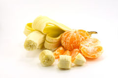 Banana and tangerine. S are isolated on a white background Stock Photo