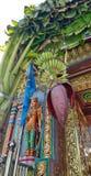 Banana tree and fruit at entrance of Mahamariamman temple on Silom Road Bangkok , Famously called as Wat Khaek ,  Uma devi temple Royalty Free Stock Images