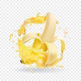 Banana tropical realistic fruit juice. Vector Royalty Free Stock Images