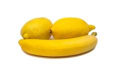 Banana And Two Lemon Stock Photo