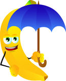 Banana with umbrella Stock Images