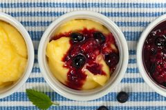 Banana Vanilla Pudding with Blueberry Stock Images