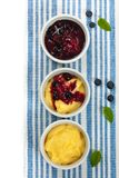 Banana Vanilla Pudding with Blueberry Royalty Free Stock Photography