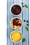 Banana Vanilla Pudding with Blueberry Royalty Free Stock Photography
