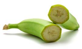 Banana verde del plantano isolata Fotografie Stock
