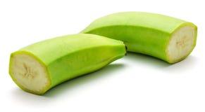 Banana verde del plantano isolata Fotografia Stock