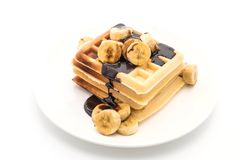 Banana waffle with chocolate Stock Photography