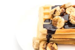 Banana waffle with chocolate Royalty Free Stock Images