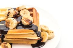 Banana waffle with chocolate Stock Image