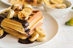 Banana waffle with chocolate Royalty Free Stock Photos