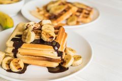 Banana waffle with chocolate Royalty Free Stock Photography