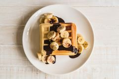 Banana waffle with chocolate Stock Images