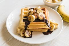 Banana waffle with chocolate Royalty Free Stock Photo