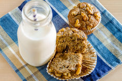 Banana Walnut and Chia Seed Muffins Stock Photos