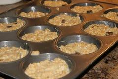 Banana, walnut and chocolate chip muffins stock photo