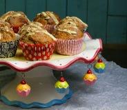 Banana Walnut muffins with white chocolate and cinnamon Royalty Free Stock Photos