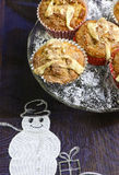 Banana Walnut muffins with white chocolate and cinnamon Royalty Free Stock Images