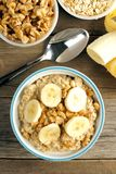 Banana walnut overnight oatmeal above view Stock Image