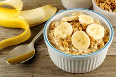 Banana walnut overnight oatmeal Royalty Free Stock Photo