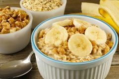 Banana walnut overnight oatmeal close up Stock Photos