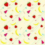 Banana_Watermelon_Strawberry样式背景 传染媒介果子 免版税库存图片