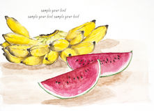 Banana and watermelon water color painted Royalty Free Stock Images