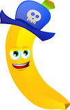 Banana wearing pirate hat Stock Photos
