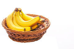 Banana In Wicker Bowl Royalty Free Stock Images