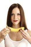 Banana Woman Female Presenting Ripe Fruit stock photography