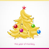 Banana xmas tree. Vector illustration. Banana xmas tree. Vector illustation. Merry christmas Royalty Free Stock Image
