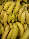 Banana or yellow plantain. The banana is a long curved fruit that grows in clusters and has soft pulpy flesh and yellow skin when ripe Royalty Free Stock Image