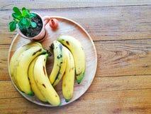 Banana. Yellow Banana on Plate royalty free stock image