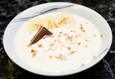 Banana yoghurt dessert Royalty Free Stock Photography