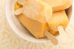 Banana, yogurt, ghiaccioli del mango in ciotola Fotografia Stock