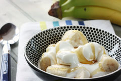 Banana, yogurt and honey Royalty Free Stock Photos