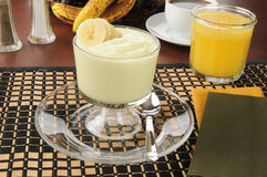 Banana yogurt with orange juice Stock Image