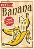 Bananaffisch i tappningstil Royaltyfri Illustrationer