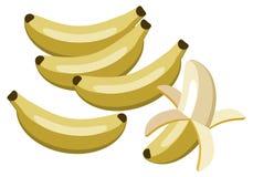 Bananas. Simplistic illustration of unpeeled and peeled bananas Royalty Free Stock Photos