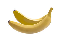 Bananas. Two fresh bananas on a white surface Royalty Free Stock Image
