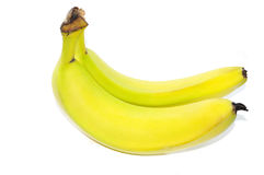 Bananas. Two bananas on white background Stock Photo