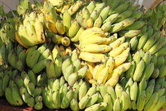 Bananas. Pile of bananas, seen as offering at a Buddhist temple in Myanmar Stock Image