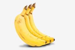 Bananas. Three ripe yellow bananas on white background Royalty Free Stock Photos