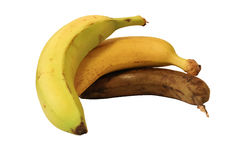 Bananas aging - isolated Royalty Free Stock Photos