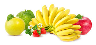 Bananas  ,apple and strawberries isolated Stock Photography