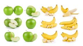 Bananas and apple on white background. Bananas and apple on a white background Stock Image