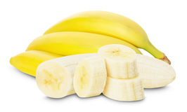 Bananas with banana slices on the white background Royalty Free Stock Photography