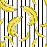 Bananas on black and white background. Seamless pattern. Yellow bananas on black and white background. Seamless pattern royalty free illustration