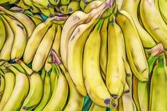 Bananas in bulk in greengrocer. Close up bananas in bulk in greengrocer stock photo